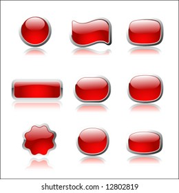 Red buttons on white background