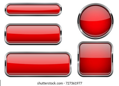 Red buttons set. Glass icons with metal frame. Vector 3d illustration isolated on white background