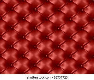 Red button-tufted leather background. Vector illustration.