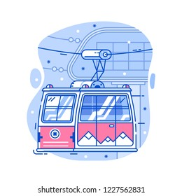Red cable car in flat design. Electric ski lift or gondola icon in line art. Winter funicular illustration. Mountain ski resort cableway concept.