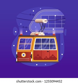 Red cable car in flat design. Electric ski lift or gondola icon in gradient trendy style. Winter funicular illustration. Mountain ski resort cable way concept scene.
