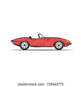 red cabriolet, old car - vector illustration clipart.