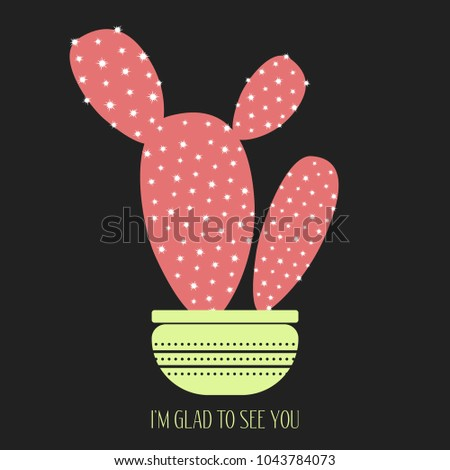 red cactus pot on dark background stock vector royalty free