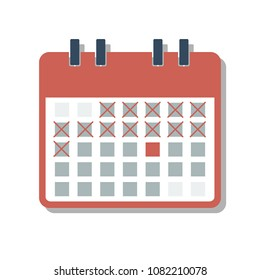 red calendar grid with cross marked days, countdown days concept