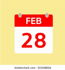 Red Calendar icon - Feb 28