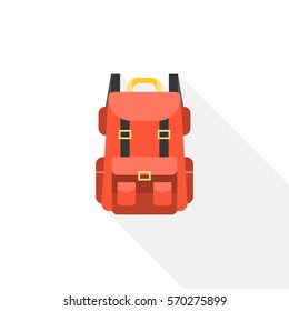 Red camping backpack icon, flat design vector with long shadow