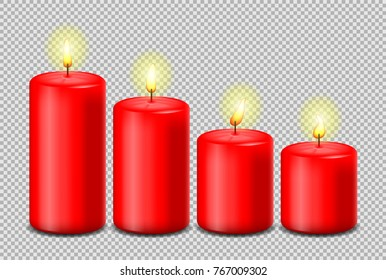 Red candles set vector isolated