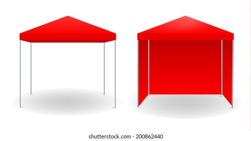 Red canopy, vector illustration.