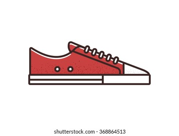 Red canvas sneaker line icon. Isolated vector illustration.