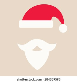Red Cap with white pompon of Santa Claus and white mustache with a beard isolated on beige background. Greeteng card with Santa Claus hat, flat style,icon. Festive Cristmas poster.Vector illustration.