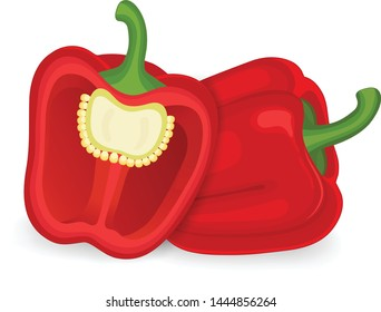 Red capsicum with half red capsicum (bell pepper) Vector illustration