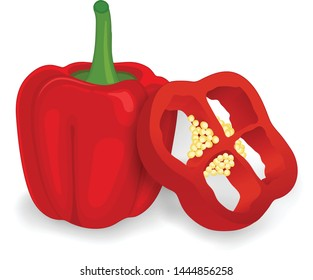Red capsicum pepper (bell pepper) Vector illustration