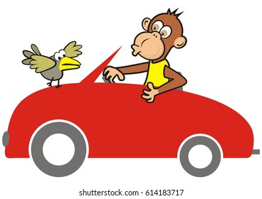 red car and animal, monkey and bird, humorous vector icon