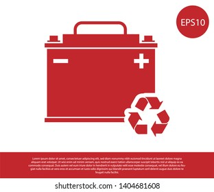 Red Car battery with recycle icon isolated on white background. Accumulator battery energy power and electricity accumulator battery. Vector Illustration