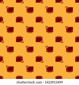 Red Car battery with recycle icon isolated seamless pattern on brown background. Accumulator battery energy power and electricity accumulator battery. Vector Illustration