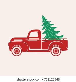 Red car with a Christmas tree