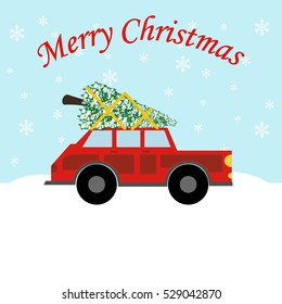 Red car with christmas tree. Christmas decoration. Vector illustration