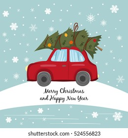 Red car with Christmas tree on the winter background. Vector illustration.
