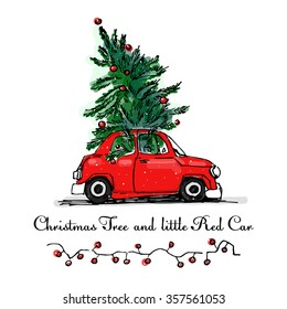 red car and Christmas tree vector card