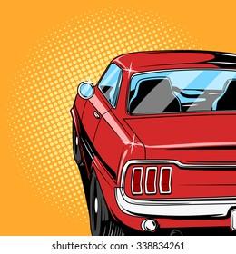 Red car comic book retro pop art style vector illustration