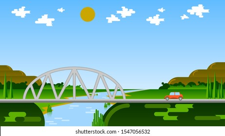 a red car is driving along a road, approaching a bridge over a river against a background of fields, forest, mountains, sky with sun and clouds. flat natural landscape. art wallpaper. vector image