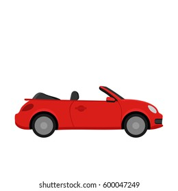 Red car. Flat design