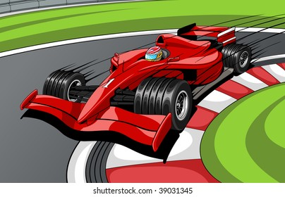 The red car the formula 1 on road. In movement.