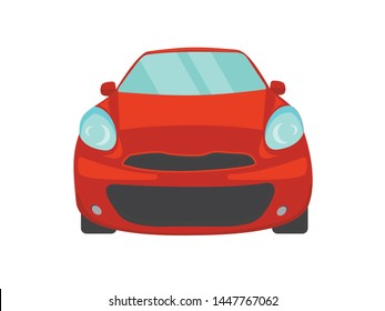 Red car front view illustration vector