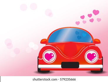 Red car with heart vector illustration