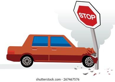 red car hits stop sign, car crash