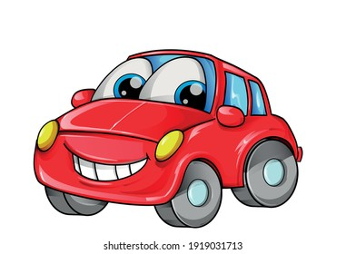 red car mascot cartoon isolated on white bachground