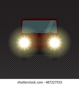 Red car at night with headlights, front view. Vector vehicle driving on evening road with lights. Car headlights at night. Possible danger on dark road.