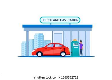 Red Car on Petrol and Gas Station. Refill Customer Automotive Service in Urban Roadside. Man Refueling Petrolium in Sedan Vehicle Travel Ride. Automobile Fuel Power Flat Illustration.