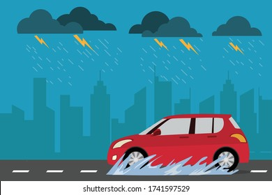 red car on the street in rainy day cityscape background. Drive safely in the rain season. vector illustration modern in flat design. side view. Transportation concept.