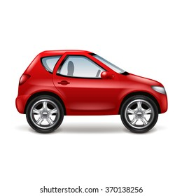 Red car profile isolated on white vector illustration