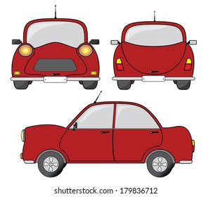 Red car side, front and back view, creative vector illustration.