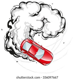 Red car in a skid on the spread smoke, extreme sports, drifting, vector illustration without background