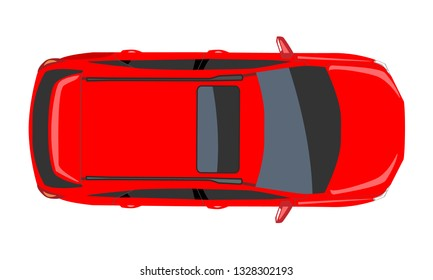Red Car top view. Flat and solid color style design Vector illustration.