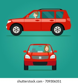 Red car two angle set. Car with driver woman side view and front view. Vector flat illustration