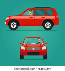 Red car two angle set. Car with driver man side view and front view. Vector flat illustration