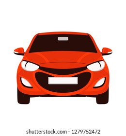 red  car, vector illustration, flat style, front view