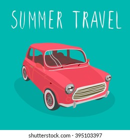 Red car vector isolated. Summer travel
