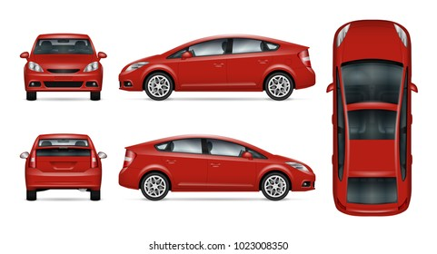 Red car vector mock-up. Isolated template of car on white background. Vehicle branding mockup. Side, front, back, top view. All elements in the groups on separate layers. Easy to edit and recolor.