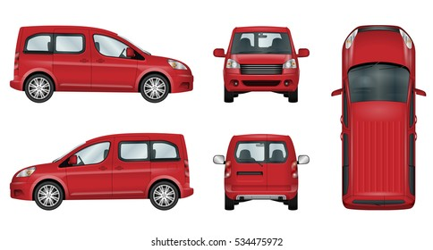 Red car vector template. Isolated family vehicle set on white background. All elements in the groups on separate layers. The ability to easily change the color. View from side, front, back, top.