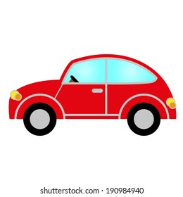 red car with windows, wheels, lights, bodywork and steering wheel