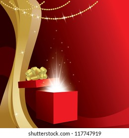 red card with gift box and gold decorations - vector