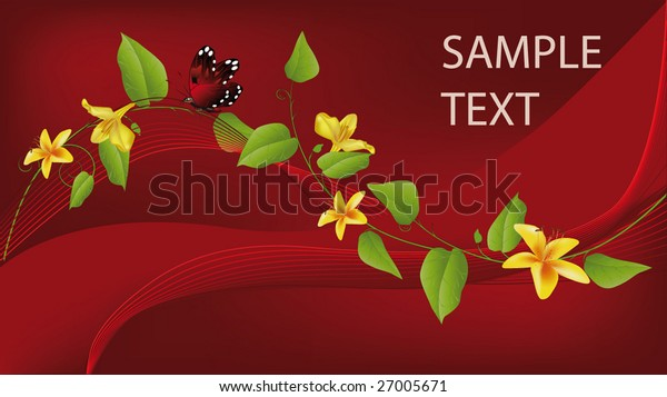red card the invitation for the businessman with flowers green leaves and the butterfly