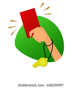 Red card referee hand vector illustration. Symbol of gross violation