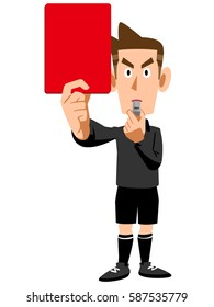 Red card referee leaving