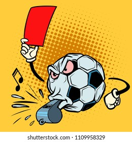 Red card referee whistle. Football soccer ball. Funny character emoticon sticker. Sport world championship competition. Comic cartoon pop art retro vector illustration